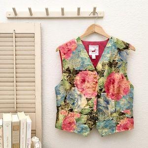 Mondi Vintage Floral Tapestry Vest, 8 Gold Buttons
